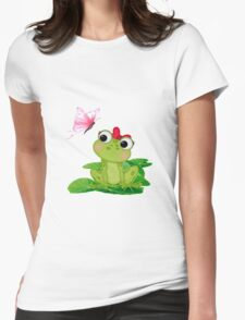 Cute Girl Frog Womens Fitted T-Shirt