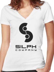Silph Co. Logo (in Black) Women's Fitted V-Neck T-Shirt