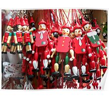 Colourful Red Toy Puppets in Prague Market Square Poster