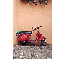 Retro red Scooter Photographic Print