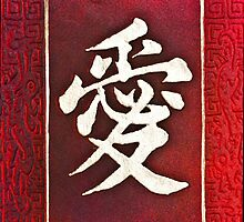 Chinese characters of LOVE on red by Ingvar Bjork Photography