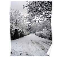Snow covered road- Walton, Warrington Poster