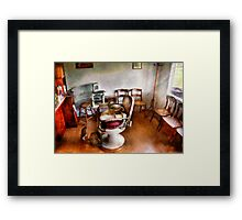 Barber - We accept children Framed Print