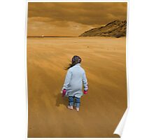 young girl blown away by natural beauty Poster
