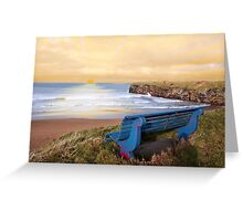 blue bench sunset view Greeting Card