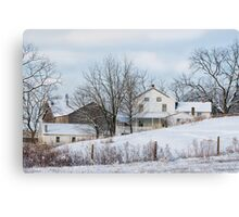 Amish Farmstead in Winter Canvas Print