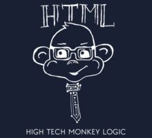 HTML High Tech Monkey Logic funny acronym White by Ilze Lucero