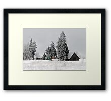 Lonely homestead in frost at 2011/01/28 winter Framed Print
