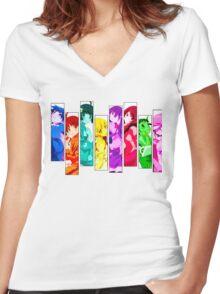 Female Chars from Monogatari Series Women's Fitted V-Neck T-Shirt