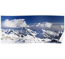 White clouds on mountain tops Poster