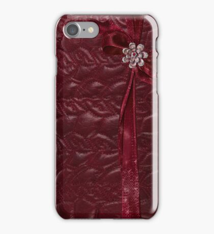Faux Cranberry quilted look with rhinestones and ribbons iPhone Case/Skin