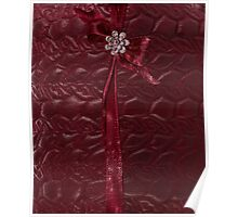 Faux Cranberry quilted look with rhinestones and ribbons Poster
