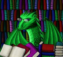 Green Dragon with Book Hoard by shaneisadragon
