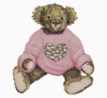 Teddy Bear with Pink Jumper One Piece - Short Sleeve