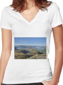 Autumn landscape Women's Fitted V-Neck T-Shirt