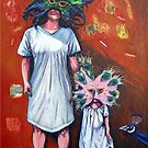 'Mother and Daughter wearing Mardi Gras Masks' by Jerry Kirk