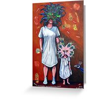 'Mother and Daughter wearing Mardi Gras Masks' Greeting Card