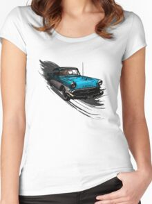 Car Retro Vintage Design Women's Fitted Scoop T-Shirt