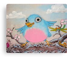 Bluebird and friends 2 - Happy themed critter friends grouping intended for a childs room Canvas Print