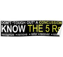 Official USA Rugby Concussion Policy: Know the 5 Rs Poster