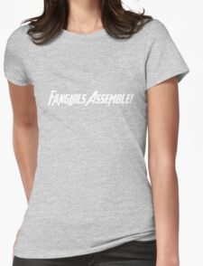 Fangirls Assemble! (White Text) Womens Fitted T-Shirt