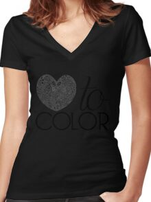 Love to Color Women's Fitted V-Neck T-Shirt