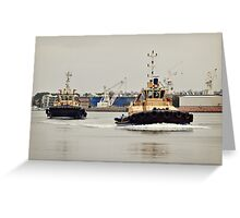 Two Tug Boats Greeting Card