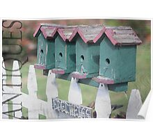 picket fence with birdhouses Poster