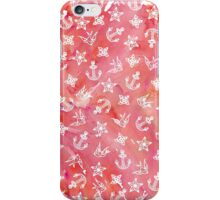 Cute Nautical Anchor Pattern on Pink Watercolor iPhone Case/Skin