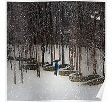 Woods Filling with Snow Poster