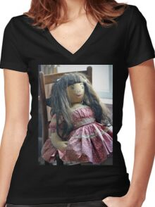 Old Doll Women's Fitted V-Neck T-Shirt