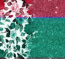 Pink, Teal, and Grey Rose Floral and Faux Glitter by Blkstrawberry