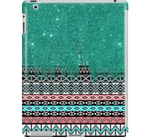 Pink and Teal Modern Aztec with Faux Teal Glitter iPad Case/Skin