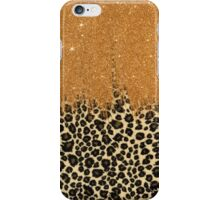 Leopard Print with Gold Faux Glitter Brush Stroke iPhone Case/Skin