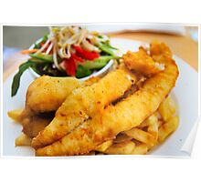 beer battered fish and chips with vegetables Poster