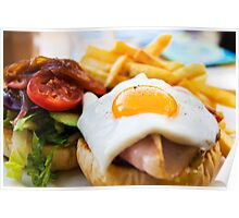 beef wagyu burger with bacon, ham, egg, chips and vegetables Poster