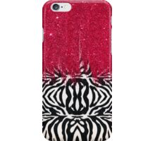 Zebra Print with Faux Pink Glitter iPhone Case/Skin