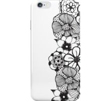 Black and White Floral Outline iPhone Case/Skin