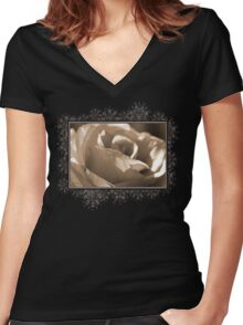 Sepia Long-stemmed Yellow Rose Women's Fitted V-Neck T-Shirt