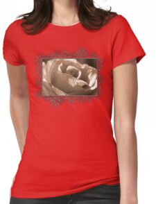 Sepia Long-stemmed Yellow Rose Womens Fitted T-Shirt