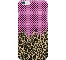 Pink Black Polka Dots and Classic Leopard Print iPhone Case/Skin