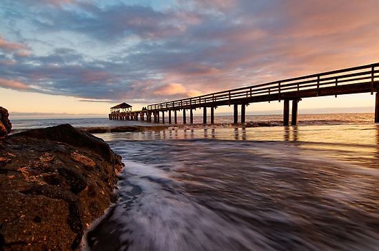 sunset at waimea pier 2 by Flux Photography