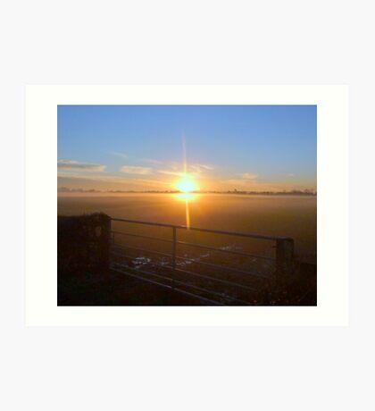 Winter sun on the moors Art Print