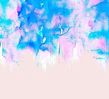 Girly Pastel Pink and Blue Watercolor Paint Drips by Blkstrawberry