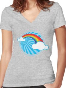 Colourful Rainbow Women's Fitted V-Neck T-Shirt