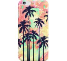Colorful Neon Watercolor with Black Palm Trees iPhone Case/Skin
