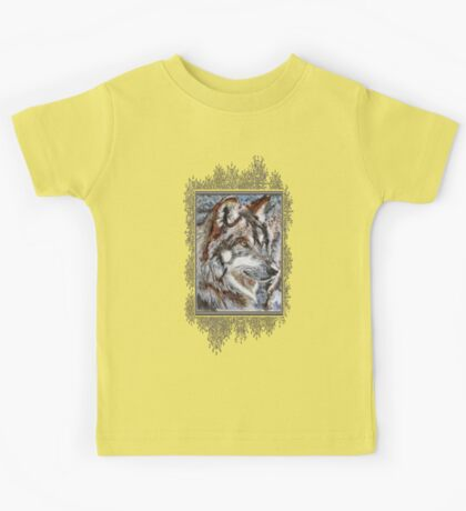 Gray Wolf Watches and Waits Kids Tee