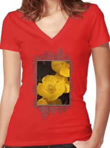 Yellow Iceland Poppy Women's Fitted V-Neck T-Shirt