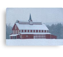 Red Barn in Snowstorm Canvas Print