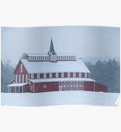 Red Barn in Snowstorm Poster